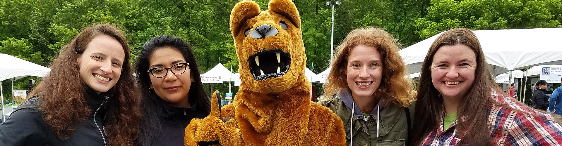 students with Nittany Lion